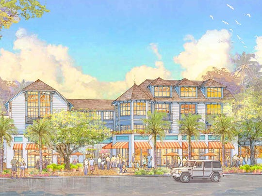 A building rendering shows a proposed three-story hotel building with ground-floor retail abutting Third Street South in downtown Naples.