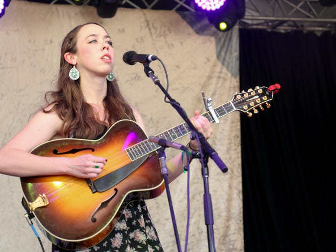 Sarah Jarosz performs at the Bonnaroo Music  & Arts Festival on Sunday, June 15, in Manchester, Tenn.