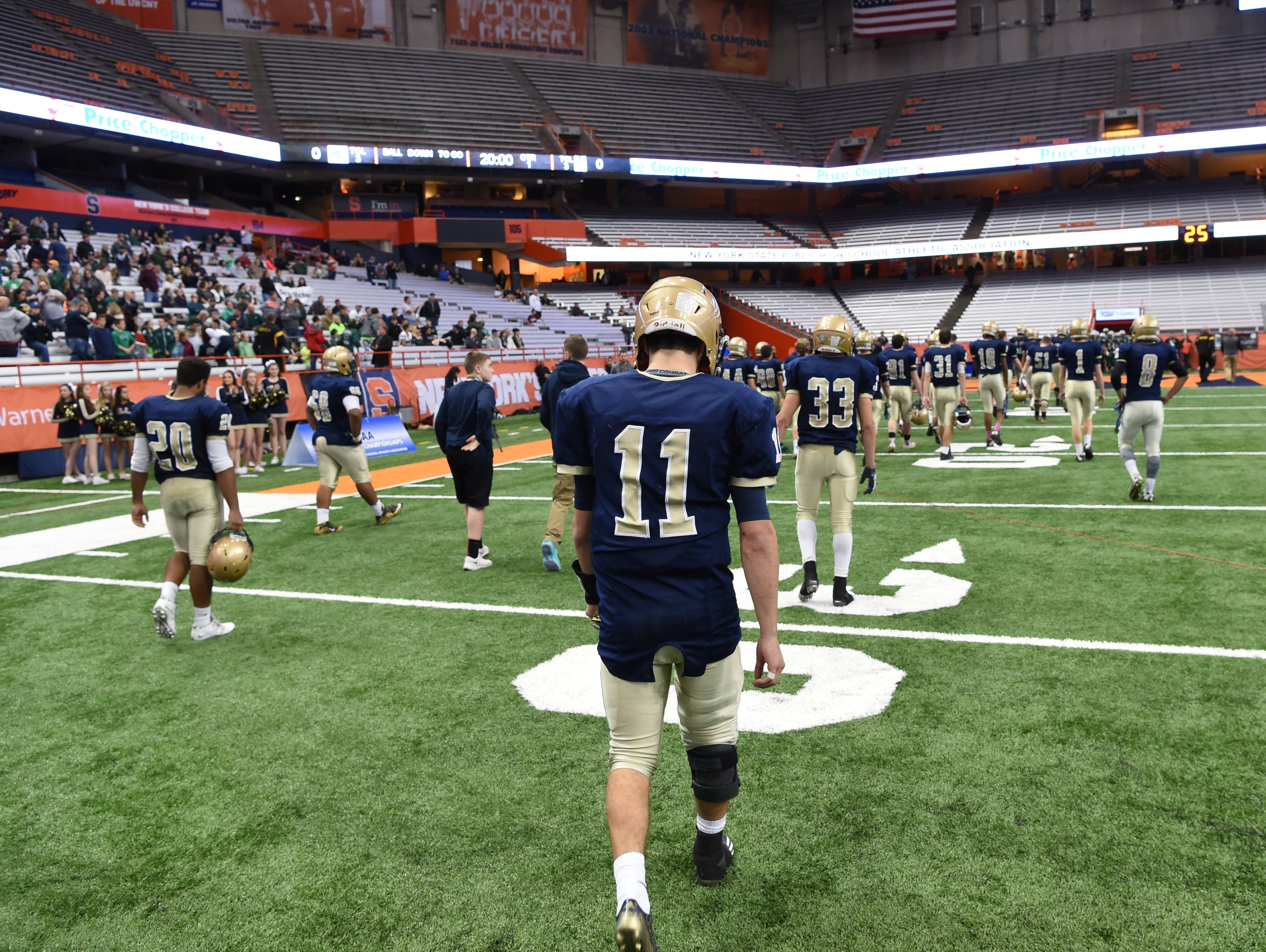 Our Lady of Lourdes' football team after the New York State Championship final versus South Park in Syracuse on Friday.