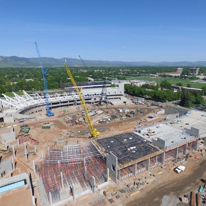 A recent aerial photo  shows the progress of construction