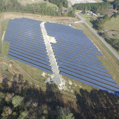 A solar array constructed by Cypress Creek Renewables