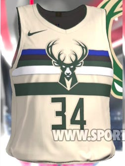 A screenshot of what is believed to be the Bucks' City jersey from NBA 2K18.