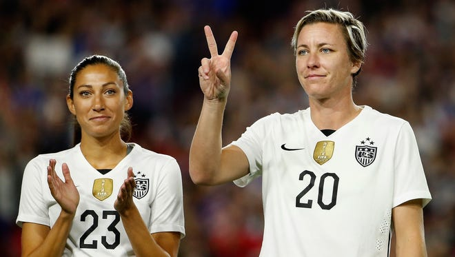 Abby Wambach of the United States is introduced before the women's soccer match against China at University of Phoenix Stadium on Dec. 13, 2015 in Glendale, Arizona.