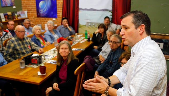 Republican presidential candidate Sen. Ted Cruz, R-Texas speaks to a crowd at Sweet Joy Shoppe in Atlantic Iowa Friday, Oct. 23, 2015.