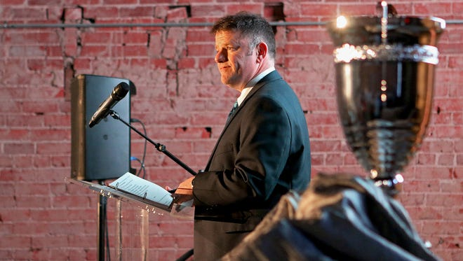 Henry Florsheim, president and CEO of the Wichita Falls Chamber of Commerce & Industry, looks out over a crowd gathered in the Restoration Hall at the Half Pint Taphouse Tuesday night for the Chamber's 2018 annual meeting.