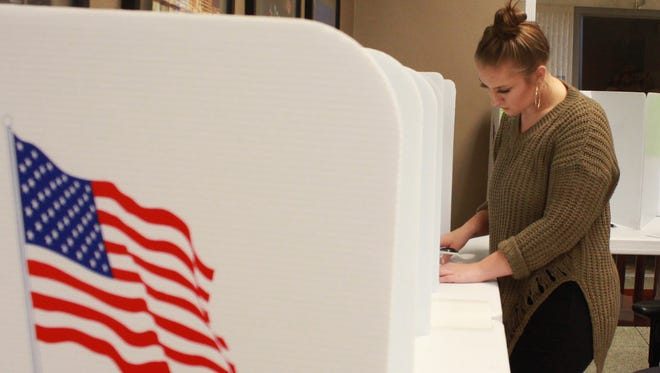 Olivia Upstone of Green Bay casts her first vote in a presidential election on her 20th birthday at Green Bay City Hall.