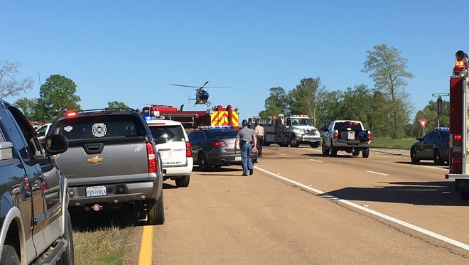 Air Care lands on the scene of a fatal wreck on Mississippi 43 Sunday.