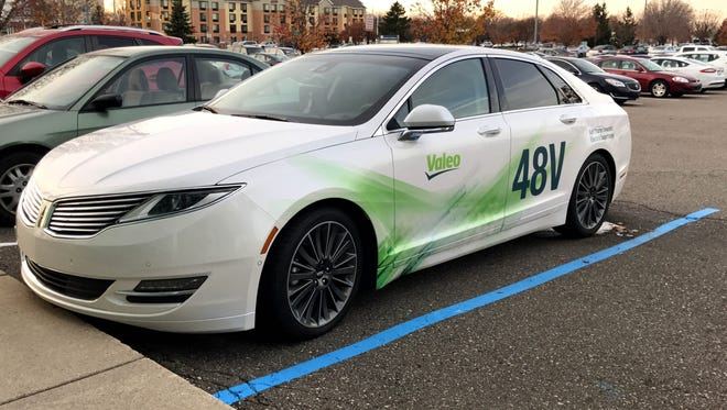 A Lincoln MKZ engineering car with a Valeo  48-volt electric system at Valeo's headquarters in Troy on Nov. 22, 2016.