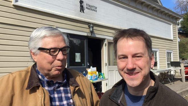 Staunton Makerspace co-founders Jim Rutt and Dan Funk announce the location of their new office on Thursday, March 2, 2017, after a fire damaged their former space earlier in the week.