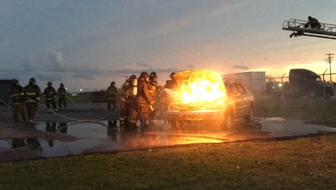 The Madison County Fire Department held an annual live fire training March 23, 2017, for a new class of volunteer firefighters before their graduation in April.