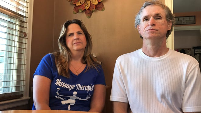 Koni and Seth Sims, pictured in their Sioux Falls home on May 26, 2017. Koni Sims was struck by a motorist as they crossed Sheldon Lane in Sioux Falls on May 12. Seth Sims was holding a white cane to indicate his visual impairment