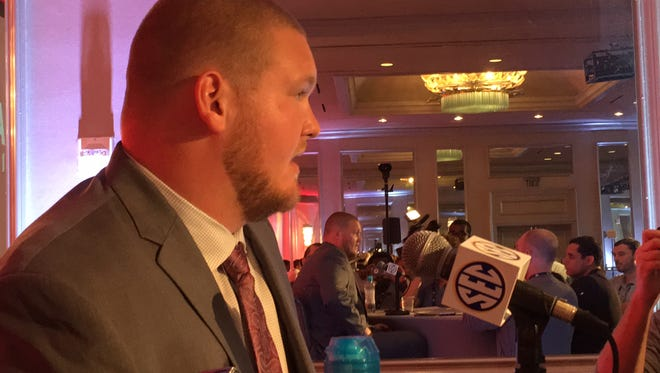 Alabama senior offensive lineman Bradley Bozeman answers questions during Day 3 of SEC Media Days at Hoover, Ala.
