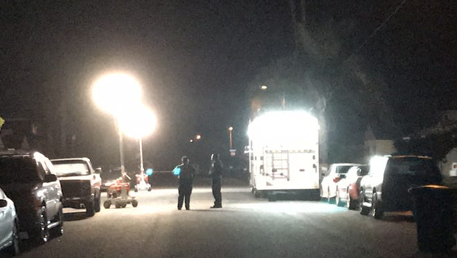 This was the scene late Wednesday near West Guava Street and South Ventura Road in Oxnard, where police were looking for evidence of a fatal shooting.