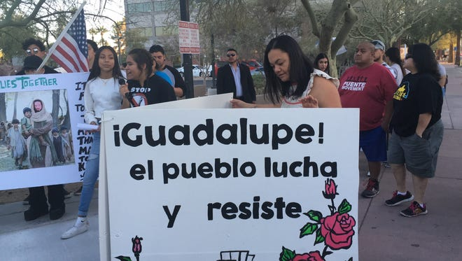 Puente, a human-rights advocacy group, led a protest in Phoenix against President Donald Trump's immigration policy Feb. 5, 2018, almost a year after the deportation of Mesa resident Guadalupe Garcia de Reyos.