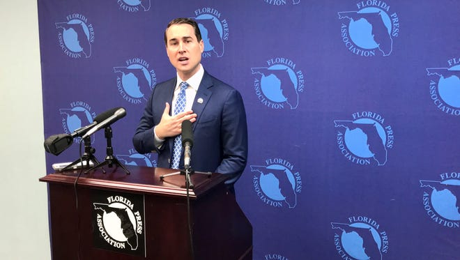 Chris King, Democratic candidate for governor, criticized former Congresswoman Gwen Graham on Wednesday during a news conference at the Florida Press Center.