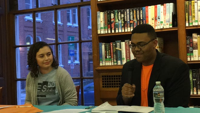 Student panelists Emma Poff, a senior at York Catholic High School, and Isaiah Washington, a junior at South Western High School, speak about how teens can lend their voice to community issues during Martin Library's Teen Town Hall on Wednesday, March 14. (Lindsay VanAsdalan)