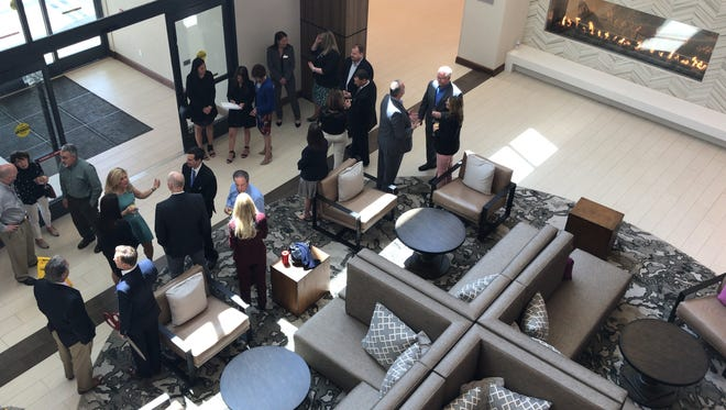 The lobby of Embassy Suites hotel during its May 1 grand-opening at Connell Corporate Park in Berkeley Heights.