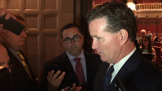 State Senate Majority Leader John Flanagan, R-Suffolk County, speaks to reporters at the Capitol on Thursday, May 31, 2018.