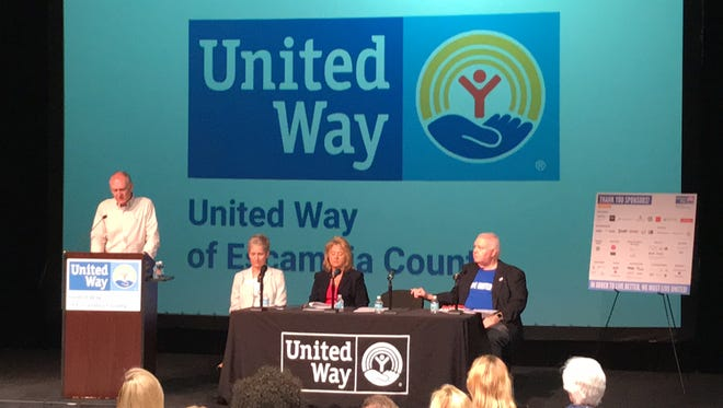 United Way of Escambia County officials, left to right, John Floyd, Laura Gilliam, Yvette McLellan and Jack Lowery announce funding for 2018-2019 at WSRE's Amos Performance Studio.