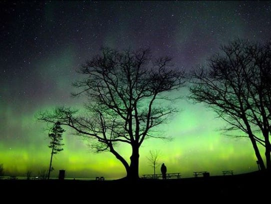 The northern lights seen from Michigan's Keweenaw Peninsula