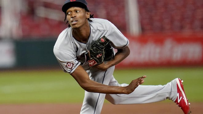 Cleveland Indians starting pitcher Triston McKenzie throws during the first inning of a baseball game against the St. Louis Cardinals Friday, Aug. 28, 2020, in St. Louis.