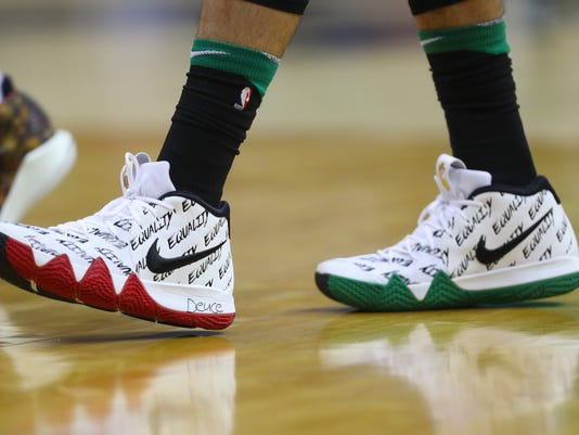 Boston Celtics forward Jayson Tatum walks during first half of a NBA basketball game against Washington Wizards, Thursday, Feb. 8, 2018, in Washington. (AP Photo/Pablo Martinez Monsivais)