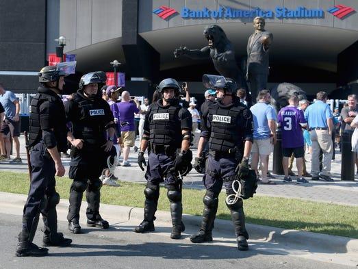 Charlotte Mecklenburg Police Department officers deploy
