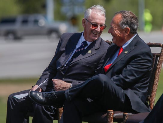 Jerry Davis, left, and Johnny Morris laugh during the