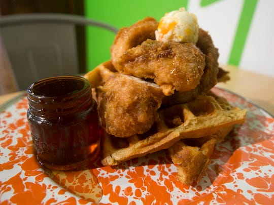 The chicken and waffles from Roost Uncommon Kitchen