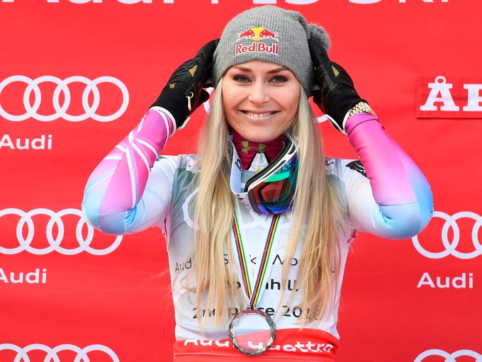Lindsey Vonn -- shown here celebrating a second-place