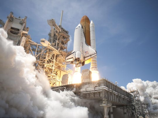 Space Shuttle Atlantis launches on the STS-132 mission in May 2010.