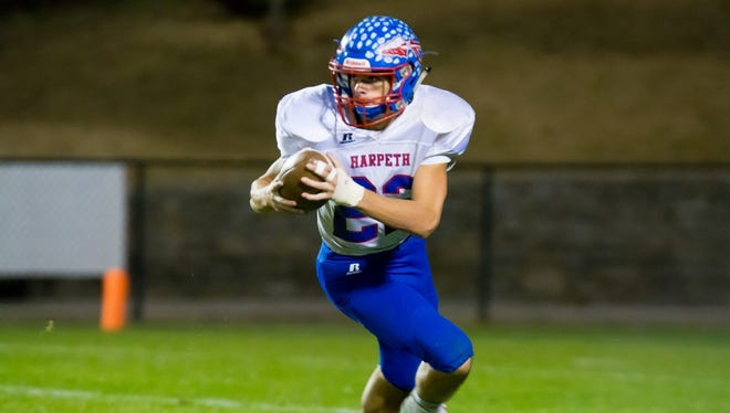 Senior Drake Fullum steps in for Walker Weatherley in the Harpeth High School Indians Nov. 4 playoff game against Goodpasture Christian as Quarterback after Weatherley was injured three plays in. Fullum had two touchdown runs in the game, but the Indians lost 36-20.