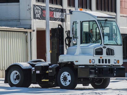 A model vehicle sits near the front entrance of Autocar Trucks, 551 S. Washington St., Hagerstown, on Friday, Jan. 5, 2018.