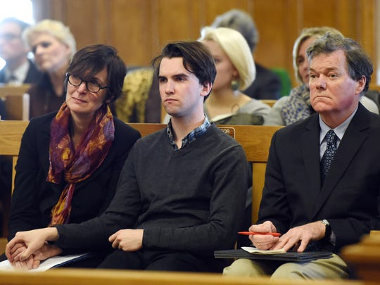 The parents and brother of Evelina Brown, from left, Patreese Martin, William Sullivan Brown and Nathaniel Brown, react at the sentencing of Carol Boeck on Tuesday in Dutchess County Court in the City of Poughkeepsie. Carol Boeck was sentenced by Judge Stephen Greller for the hit-and-run death of two Bard College students.