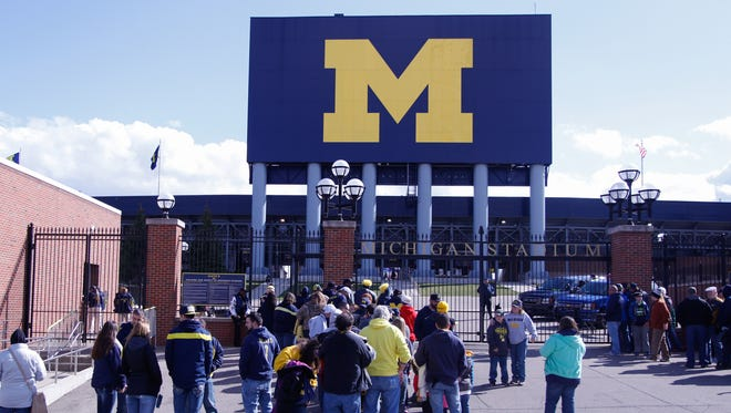 Fans line up for the University of Michigan Wolverines Spring Game on Friday, April 1, 2016 at Michigan Stadium in Ann Arbor Michigan.