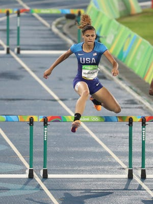 Sydney McLaughlin (USA) competes during the women's 400-meter hurdles.