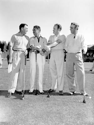 Montie Moncrief, Bob Hope, Gene Littler and Ben Hogan golfing at Thunderbird C.C. in 1952.