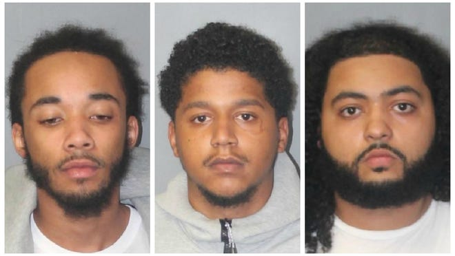 From left, Victor Myers Monteiro, Lue Amos Andrade and Kyree Marquis Lobo, were all arrested in Brockton and charged with trafficking fentanyl and illegal possession with intent to distribute Class A and B drugs, Monday, Sept. 28, 2020.