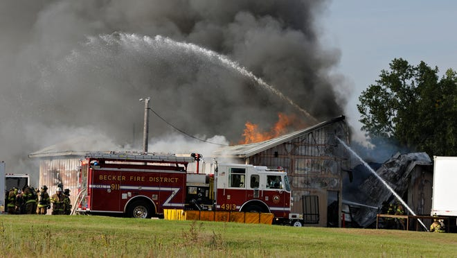 At about 5 p.m. Tuesday, firefighters were called to Gustafson Trailers & Parts at U.S. Highway 10 and Sherburne County Road 11.