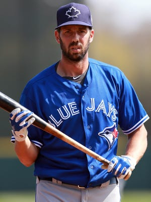 Toronto Blue Jays first baseman Chris Colabello works out prior to the team's game against the Houston Astros in spring training.