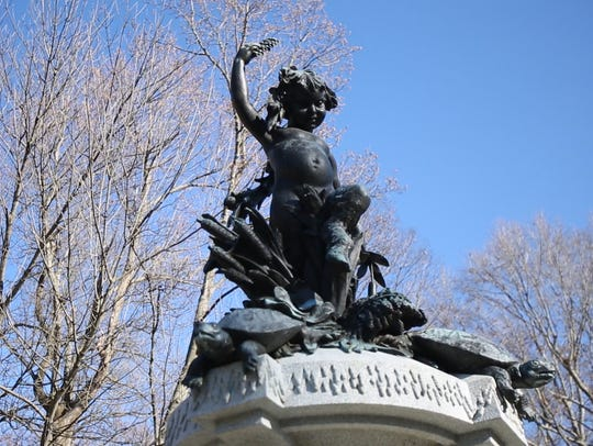 The Pan statue at the top of Hogans Fountain