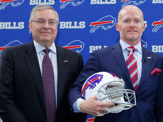 Bills owner Terry Pegula with new coach Sean McDermott.