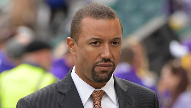 Cleveland Browns executive vice president and general manager Sashi Brown reacts during an NFL International Series game against the Minnesota Vikings at Twickenham Stadium.