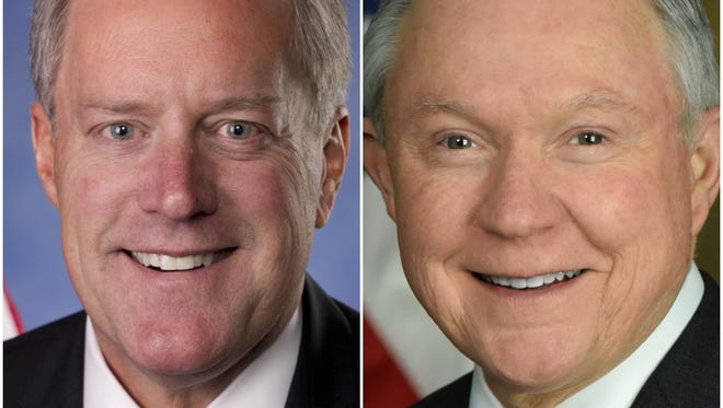 U.S. Rep. Mark Meadows, left, and Attorney General Jeff Sessions.