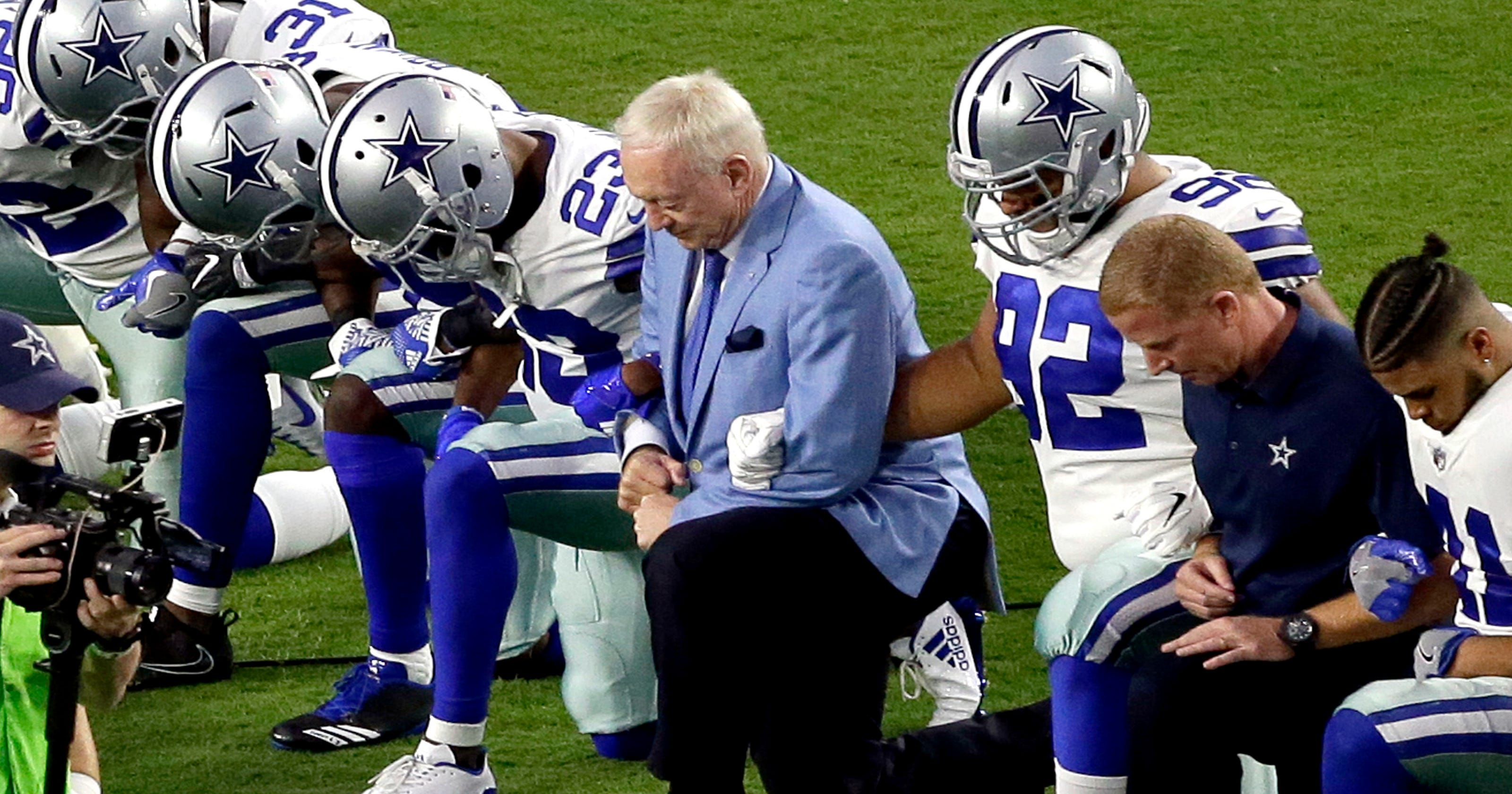 Cowboys  Stephen Jones hints players who kneel for anthem may be cut 048b24cf0ac