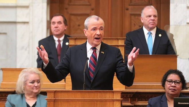 Gov. Phil Murphy addresses the Legislature and introduces his first state budget on March 13, 2018.