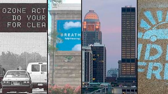Louisville Metro Air Pollution Control District posts its air quality alerts on traffic signs, as seen in this collage of images from the district's website
