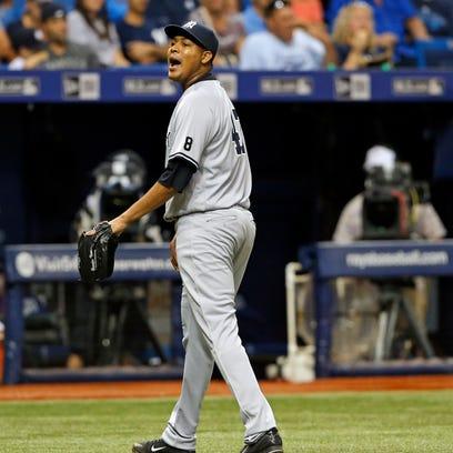 New York Yankees starting pitcher Ivan Nova has words