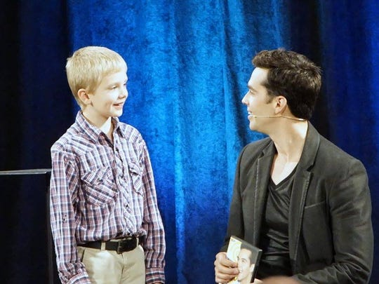 """Michael Carbonaro with an audience member. Carbonaro is master of legerdemain on """"The Carbonaro Effect,"""" in which the practical-joke meister uses magic to befuddle the unsuspecting."""