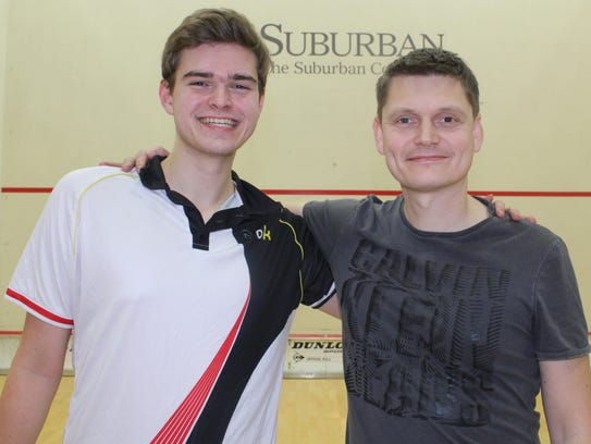Birmingham Athletic Club squash pro Julian Wellings (right) said prized pupil Ned Mylod gave 'a good account of himself' playing against the pros at the Motor City Open.